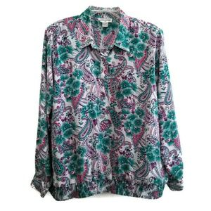 Alfred Dunner 42 1X Top White Teal Purple Paisley